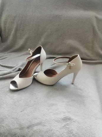 Buty ślubne szpilki sandałki eleganckie skórzane 37