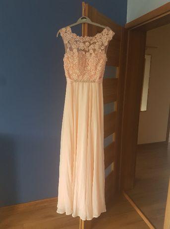 Suknia wieczorowa pudrowy róż rozmiar S