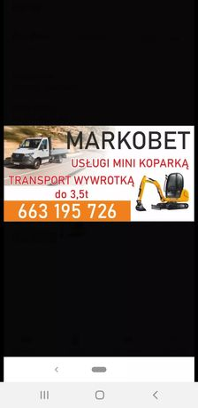 Usługi minikoparką i transport  wywrotka do 3.5 tony