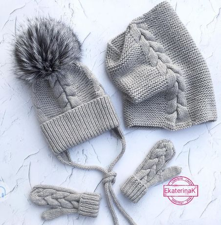 Вязаная шапка ручной работы, шапочка и снуд, вязаная шапка