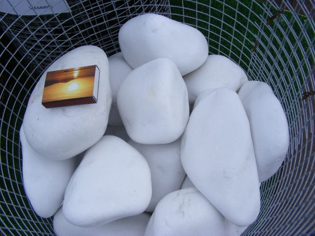Kamień ozdobny otoczak śnieżny 10-30mm,30-60mm,10-20mm,40-80mm