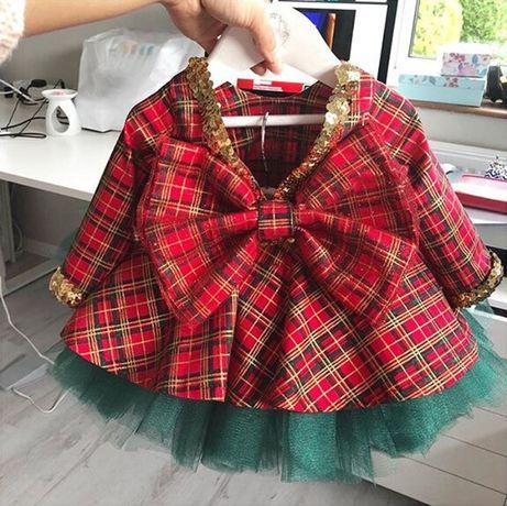 Sukienka kokarda 98 cm tiul krata Święta NOWA