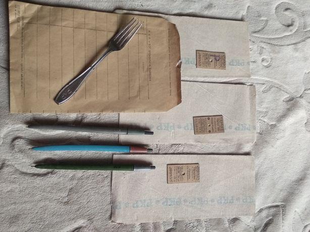 Kolekcjonerskie rzeczy z logo PKP długopisy widelec koperta bilety
