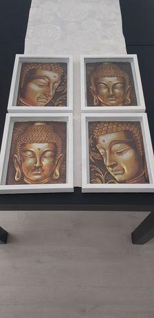 Quatro quadros branco com Budas em 3D