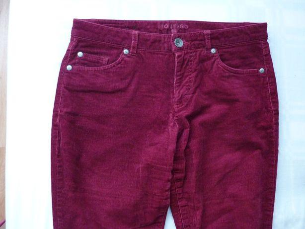 spodnie damskie bordowe sztruksy W 36 L32 Montego