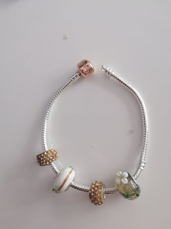 Bransoletka Pandora 18cm kółko Gold Rose plus charmsy próba 925 ALE
