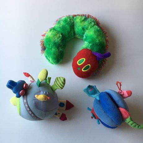 Zabawki dla dziecka, piłka świat Haba, Akuku, bardzo głodna gąsienica