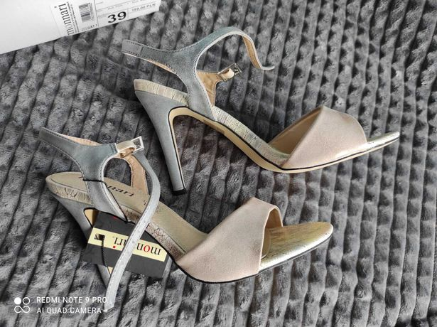 Sandały dla kobiety róż. 39 na obcasie Monnari NOWE