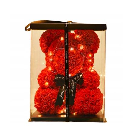 Miś z róż 25 cm! na PREZENT ROSE Bear WALENTYNKI Opakowanie NAJTANIEJ!