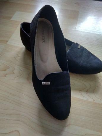 Buty balerinki, czarne ze złota wstawka,
