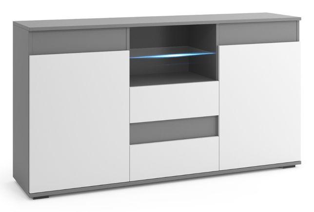Komoda RTV, duża szafka opcja LED 160cm - Biały front