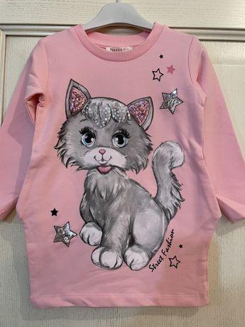 Платье двунитка с котенком и кармашками Breeze Турция размер 92 98 104