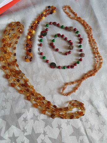 Biżuteria 3 naszyjniki i komplet