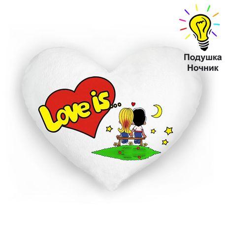 Подарок на день влюбленных - подушка ночник Love is