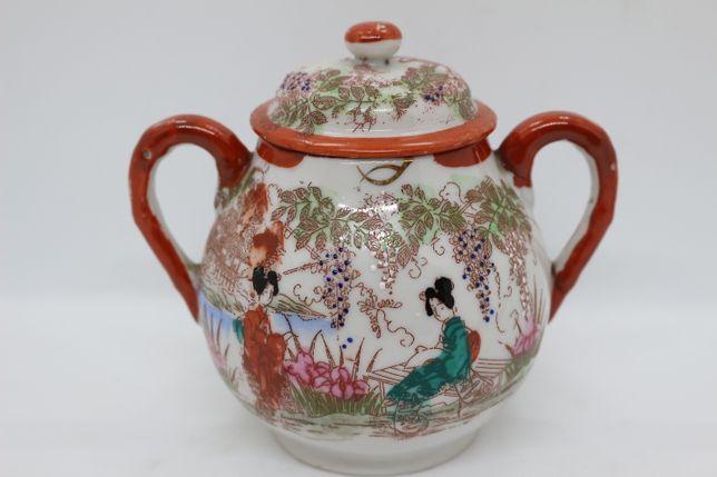 Açucareiro porcelana Oriental decoração Policroma e Ouro e Figuras XIX