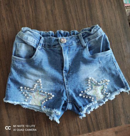 Шорты джинсовые для девочки 9-10 лет с регулируемым поясом