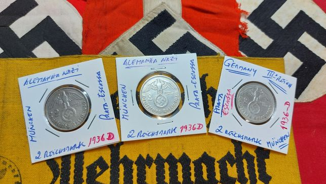 2 reichsmark 1936 D- PRATA-suastica Alemanha nazi ORIGINAIS
