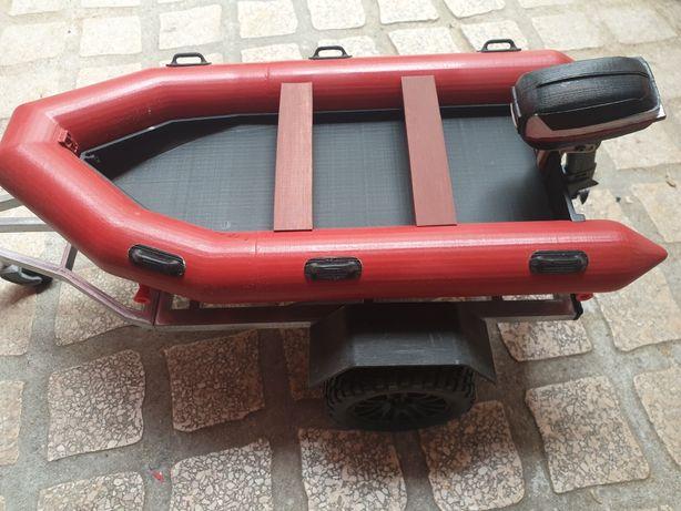 Barco com reboque para Rc Scale 1:10