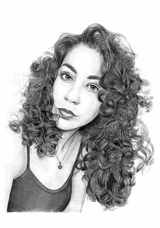 Retrato carvão desenho lápis preto e branco personalizado da sua foto