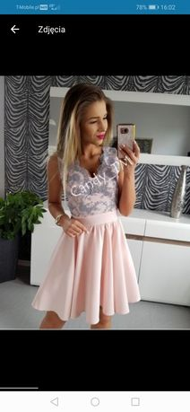 Sukienka Rocco pudrowy róż