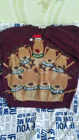 Мужской свитер кофта свитшот новогодний