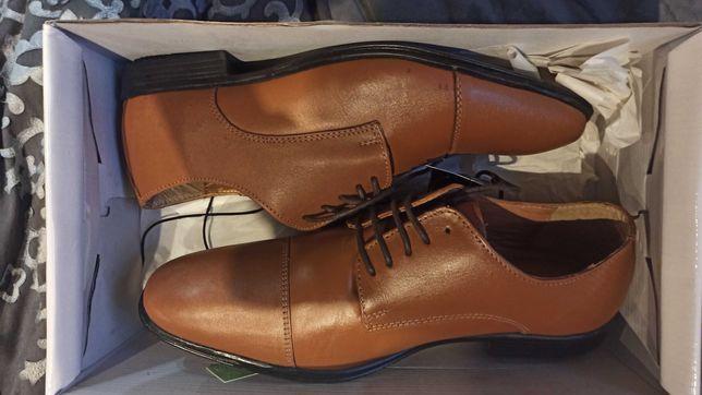 Buty nowe 42 brązowe męskie - skóra