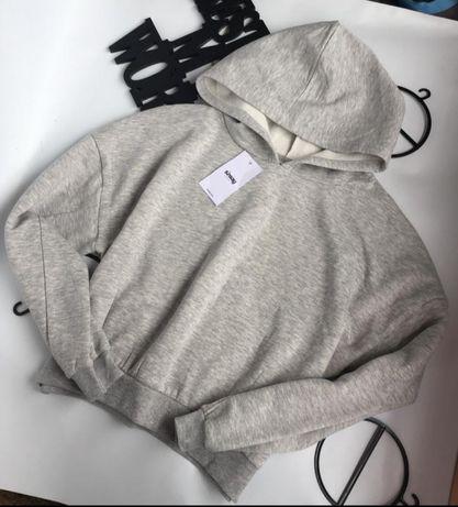 Серый базовый худи/свитшот на флисе