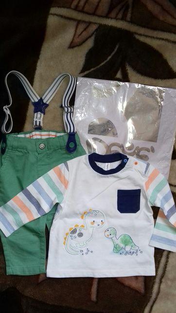 Летний костюм H&M двойка с подтяжками для мальчика 6 мес.