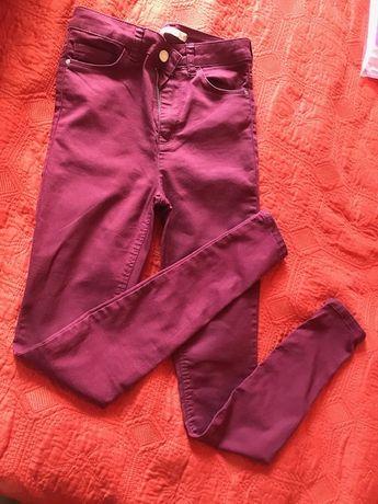 бордові джинси легінси висока посадка