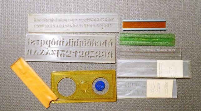 Szablony kreślarskie krzywiki literowe zestaw
