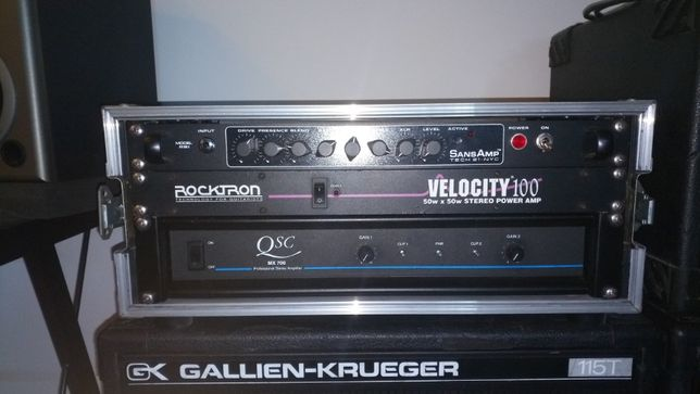 Tech 21 Sansamp RBI Bass pre amp + QSC MX700 Power amp + rack