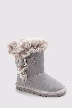 Зимние сапоги на девочку кожаные тёплые серые