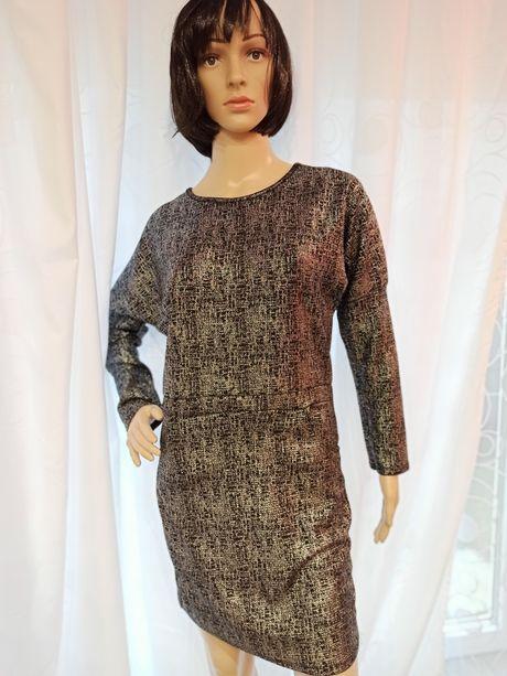 Tunika długi rękaw czarna sukienka srebrna nitka rozmiar L 40 nowa