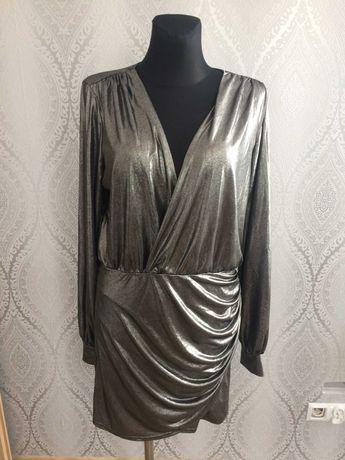 sukienka srebrna blyszczaca dekolt rekaw nowa 44 xxl