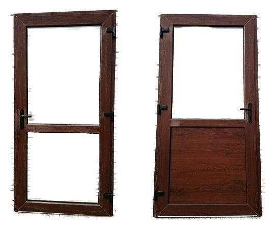 Drzwi PCV Sklepowe Zewnętrzne 90x200-210 Orzech / jak aluminiowe