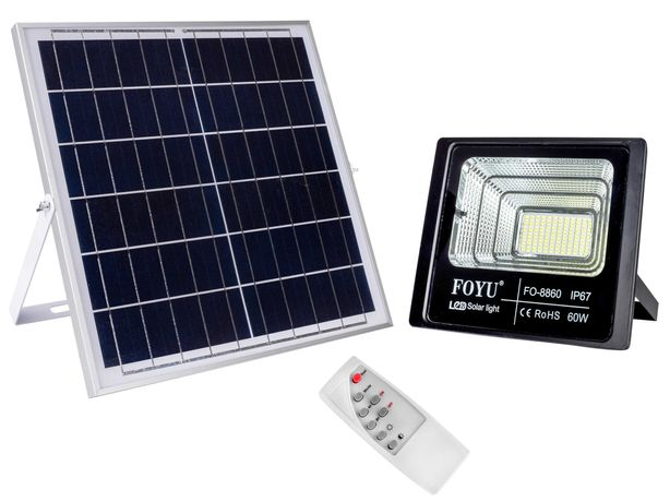 Уличный LED прожектор FOYU 60 Вт на солнечной батарее