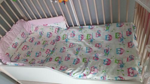 mega komplet pościeli do łóżeczka sowy+ baldachim