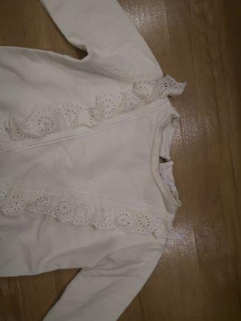 Bluza Zara 104 kremowa falbanką