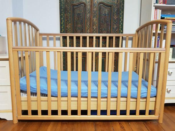Łóżeczko 130x70 z opuszczaną barierką, 2 poziomy +materac ortopedyczny