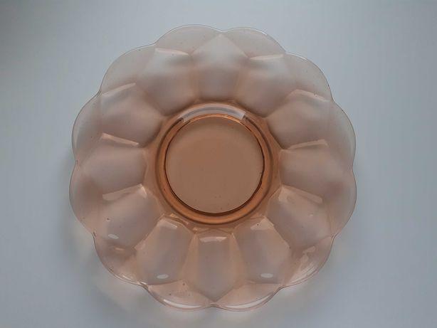 Rozalinowa patera - talerz Zawiercie n. Ząbkowice szkło prasowane