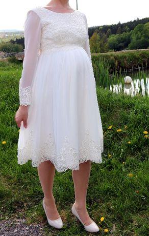 Sukienka ślubna ciążowa krótka