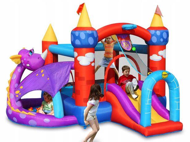 Dmuchany bajkowy zamek Smoka, zjeżdzalnia, plac zabaw, trampolina.