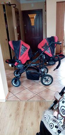 Wózek dla bliźniąt+ Leżaczek+2 foteliki samochodowe gratis