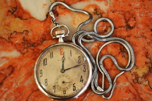 Fabuloso Relógio em Prata de Bolso - Suiço MOERIS Grand Prix Vintage