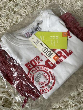 Комплект реглан шорты для девочки на 1 -1.5 года