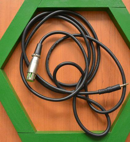 Аудіо кабель, XLR (мама) - Jack 3.5, 2,5 метра, аудио 3-pin
