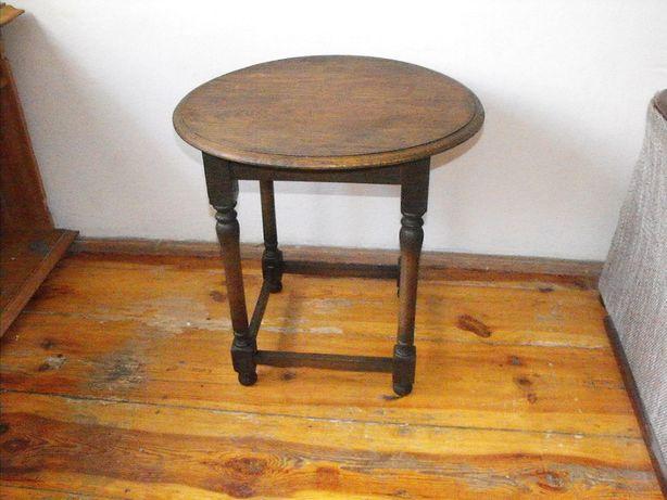 Ładny, dębowy stolik kawowy - okrągły blat