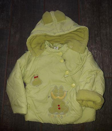 Kurtka zielona zimowa kaptur dla dziewczynki tania ciepła / 86