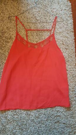 Koszulka H&M L 40 czerwona koronka elegancka
