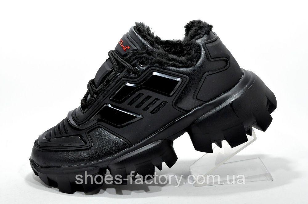 Женские кроссовки на меху Прада Клауд Буст Тандер, Чёрные, купить Киев - изображение 1